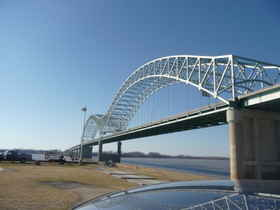 The Hernando Desoto Mississippi River bridge